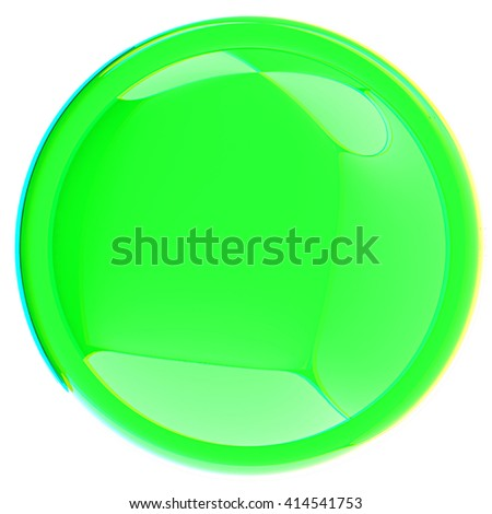 Glossy green button. 3D illustration. Anaglyph. View with red/cyan glasses to see in 3D.