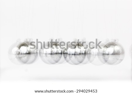 Glossy Momentum balls Blur in Stop motion on White background