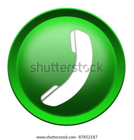 Glossy phone icon button isolated over stock illustration for Logo telefono