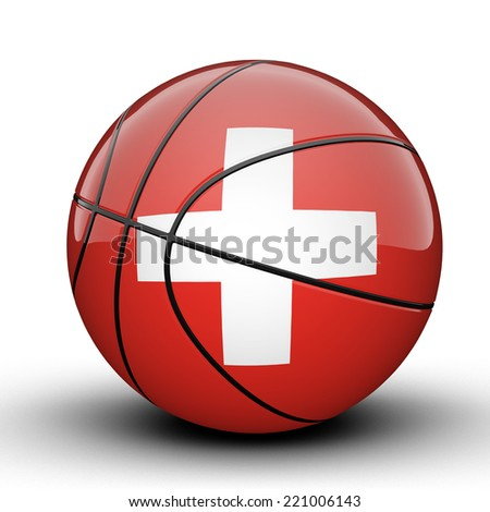 Glossy Switzerland basketball ball flag isolated on white background