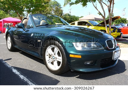 GLOUCESTER, VIRGINIA - AUGUST 22, 2015:A BMW convertible two door in the 