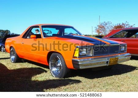 GLOUCESTER, VIRGINIA - NOVEMBER 12, 2016: A Chevrolet ElCamino in the annual Shop With a Cop Car Show held once each year to help benefit needy children of the county for Christmas