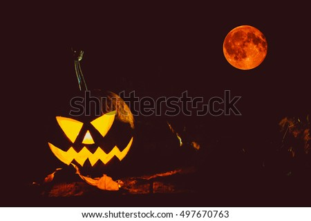 Glowing halloween pumpkin symbolizing the head of old Jack, with full blood moon in a night spooky dark background. Soft focus. Shallow DOF