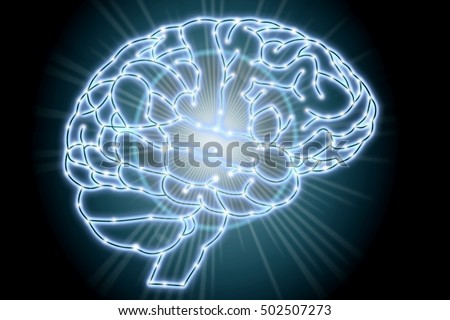 glowing human brain illustration