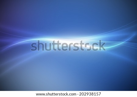 glowing line on smooth blue abstract background