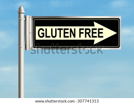 Gluten free. Road sign on the sky background. Raster illustration.