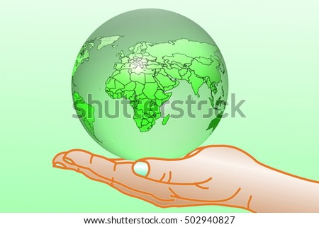 go green Nature ecology organic concept with earth globe on hand