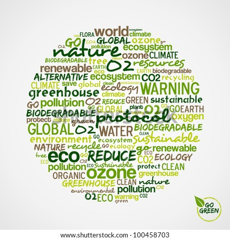 Go Green. Words cloud about environmental conservation in circle shape.