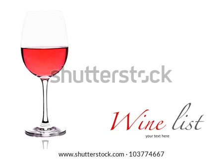 goblet with ros�� wine on white background