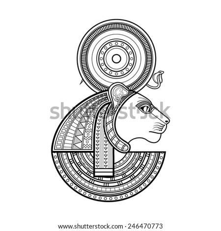 god ancient egypt sekhmet stock illustration 246470773 shutterstock. Black Bedroom Furniture Sets. Home Design Ideas