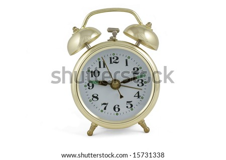 Gold alarm clock isolated on white background
