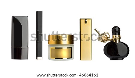 gold and black cosmetic bottles set