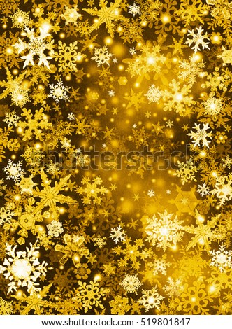 Gold and white snowflakes on a dark paper background.
