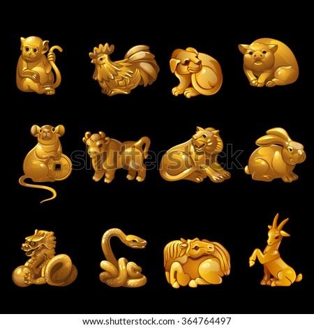 Gold animal figurines from the calendar.