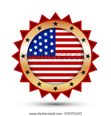 Gold badge and icon with USA flag symbol. Independence Day.