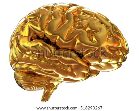 Gold brain. 3d render