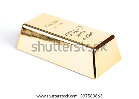 gold bullion close-up isolated on white background