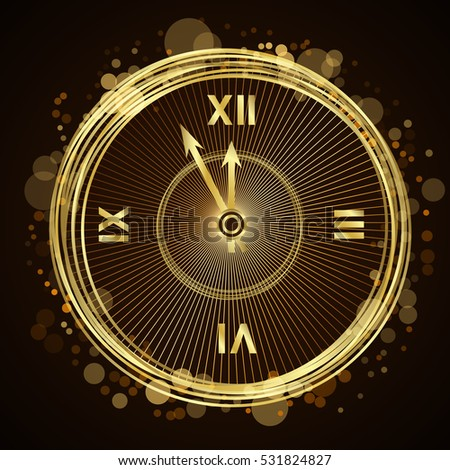 Gold Christmas magic clock background. Golden shiny design with sparkles and glitter. Decoration for card, greeting. Symbol of Happy New Year 2017 holiday, countdown. illustration