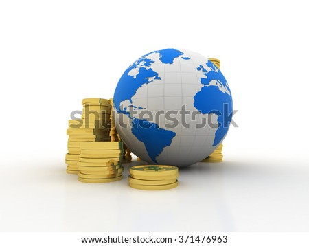 Gold coins with globe
