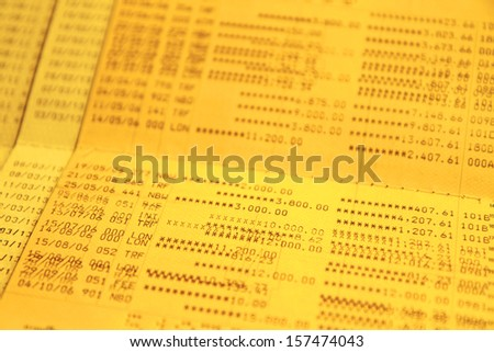 Gold color saving account passbook