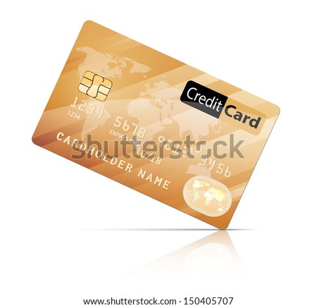 Gold Credit Card icon isolated on white.  Concept of business, banking, finances.