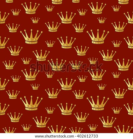 Gold crown over red. Seamless raster pattern.