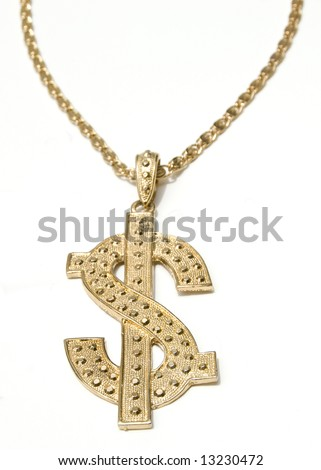 Gold Dollar Symbol Chain Necklace on White Background.