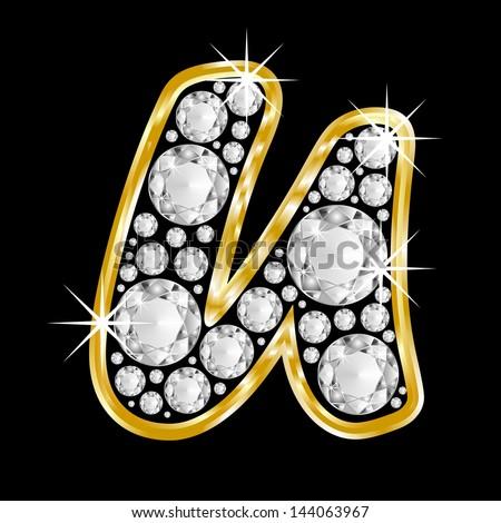 u alphabet in diamond  Gold framed alphabet letter