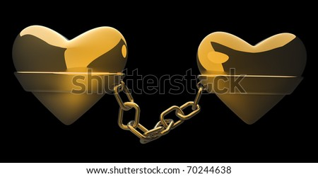 Gold heart and gold chain isolated on black - love concept