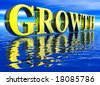 Gold Large Growth Text in 3d floating Big Over Water Ocean - stock photo
