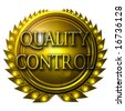 gold medal with quality control written on it - stock photo