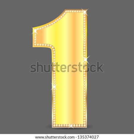 gold number one decorated by ablaze stones.raster copy of vector file