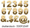 Gold Numbers on White. 3D Render - stock photo