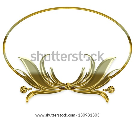 GOLD ORNATE FRAME - MIRRORED AFFECT - (Place on white background or ...