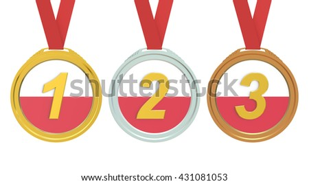 Gold, Silver and Bronze medals with Poland flag, 3D rendering