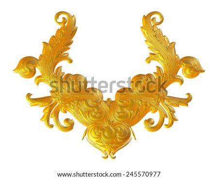 Gold Vintage ornament calligraphic design element on isolated white background.