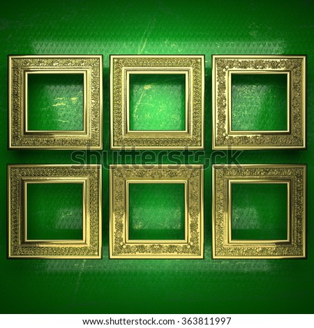 golden background painted in green