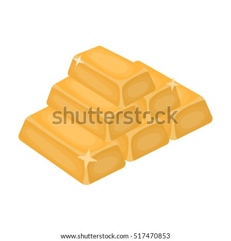 Golden bars icon in cartoon style isolated on white background. USA country symbol stock rastr illustration.
