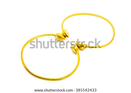 golden bracelet nice for collection on white background