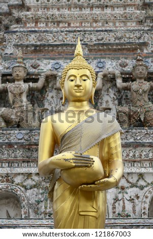 Golden Buddha statue in Thailand  THIS IMAGE IS PUBLIC DOMAIN FROM A THAI TEMPLE. NO COPYRIGHT ON THE ARTWORK.
