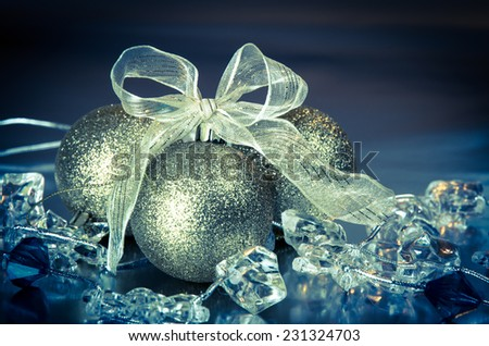 golden christmas ball and golden ribbon decoration