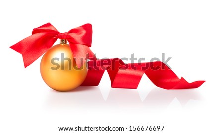 Golden Christmas sphere with ribbon and bow on the white