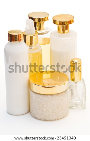 golden collection of beauty products isolated with clipping path