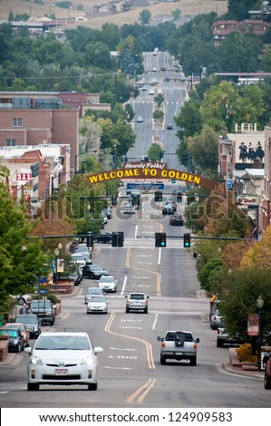 GOLDEN, COLORADO - SEPT. 18: The sign welcoming visitors to historic Golden, Colorado on September 18, 2010.   Founded in 1859 Golden has become a popular tourist destination just outside of Denver