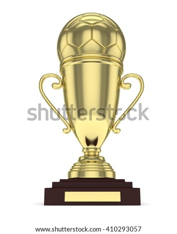 Golden cup and golden ball on white background. 3D rendering.