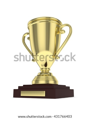 Golden cup on white background. 3D rendering.