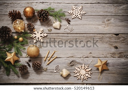Golden decoration on old wooden background
