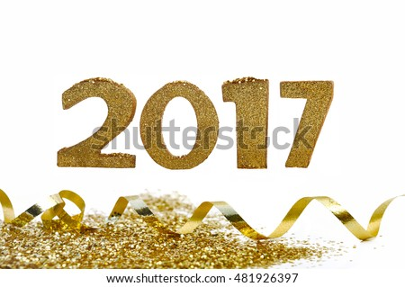 golden 2017 figures with glitters isolated on white background