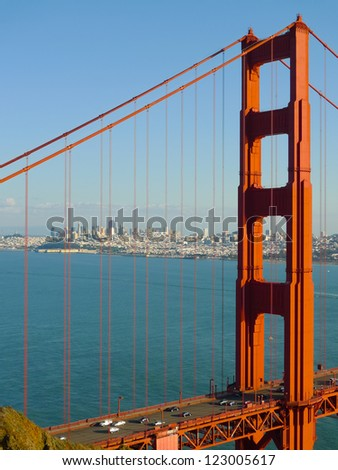 Golden Gate bridge detail and San Francisco seen from Battery Spencer
