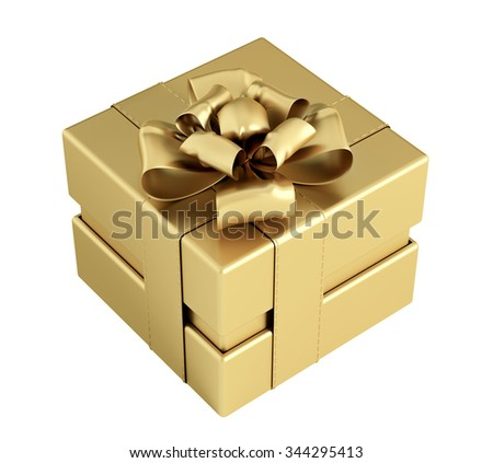 Golden gift box with bow and ribbons isolated 3d rendering
